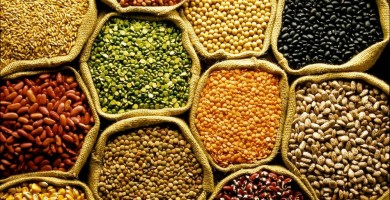 Bags of assorted organic pulses and grains, overhead view